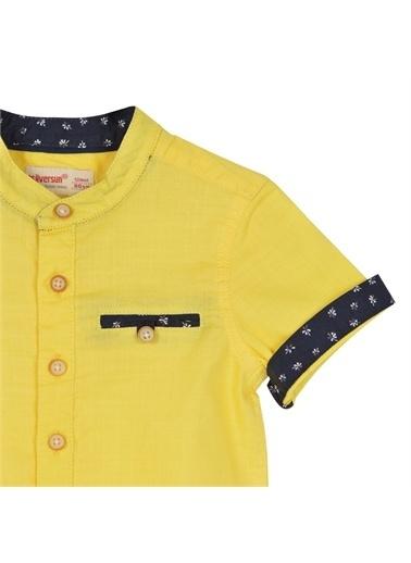 Silversun Kids Erkek Bebek Kol Uçları Desenli Kısa Kollu Dokuma Gömlek Gc 115315 Sarı